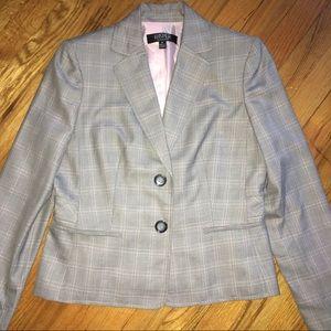 Kasper Suit Jacket:Grey/pink Plaid w/ Pink Lining